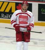 """Justin Abdelkader skates back to the bench after a shootout attempt during the """"Rock Out the Lockout"""" charity game."""