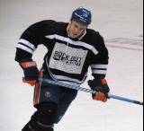 "Matt Martin takes off on a shootout attempt during the ""Rock Out the Lockout"" charity game."