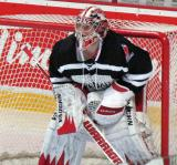 "Jimmy Howard gets set to start the second period of the ""Rock Out the Lockout"" charity game."