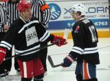 "Todd Bertuzzi and Shawn Horcoff talk during a stop in  the ""Rock Out the Lockout"" charity game."