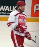 "Johan Franzen gets set for a faceoff during the ""Rock Out the Lockout"" charity game."