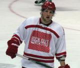 "Justin Abdelkader skates to the bench during the ""Rock Out the Lockout"" charity game."