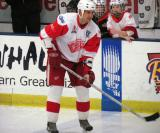 Jiri Fischer waits for the puck at the point during pre-game warmups before an alumni game.