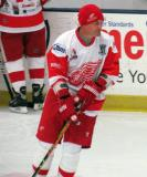Darren McCarty skates during pre-game warmups before an alumni game.