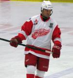 Dino Ciccarelli skates during a stop in an alumni game.