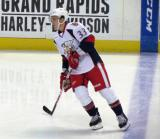 Luke Glendening skates across the blue line during pre-game warmups before a Grand Rapids Griffins game.