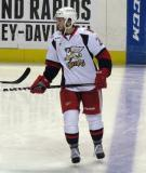 Landon Ferraro skates along the blue line during pre-game warmups before a Grand Rapids Griffins game.