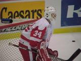 Manny Legace stands in goal waiting for a shot during pregame warmups.
