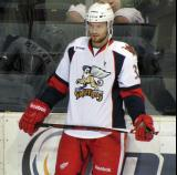 Brian Lashoff stands along the boards during pre-game warmups before a Grand Rapids Griffins game.