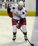 Joakim Andersson skates along the blue line during pre-game warmups before a Grand Rapids Griffins game.