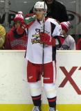 Tomas Jurco drinks some Gatorade at the bench during pre-game warmups before a Grand Rapids Griffins game.