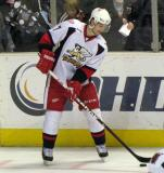 Brendan Smith stickhandles along the boards during pre-game warmups before a Grand Rapids Griffins game.