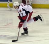 Brendan Smith puts a shot on net during pre-game warmups before a Grand Rapids Griffins game.