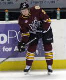 Zach Miskovic of the Chicago Wolves looks to make a pass during pre-game warmups before a game against the Grand Rapids Griffins.