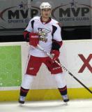 Brendan Smith watches his pass during pre-game warmups before a Grand Rapids Griffins game.