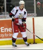 Andrej Nestrasil watches his teammates from the corner during pre-game warmups before a Grand Rapids Griffins game.