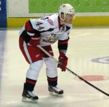 Brennan Evans gets set for the opening faceoff of a Grand Rapids Griffins game.