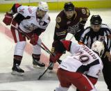 Griffins captain Jeff Hoggan lines up opposite Chicago's Andrew Gordon as Landon Ferraro gets set to take the opening faceoff of a game between the Griffins and Wolves.
