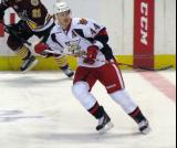 Brennan Evans retreats to the defensive zone during a Grand Rapids Griffins game.