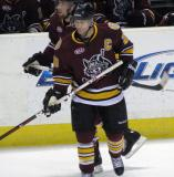 Darren Haydar of the Chicago Wolves skates away from the bench during a stop in play.