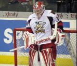 Tom McCollum gets set in his crease during a Grand Rapids Griffins game.