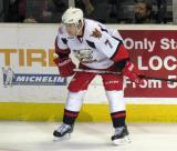 Brendan Smith sets up for a faceoff during a Grand Rapids Griffins game.