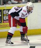 Landon Ferraro lines up at left wing for a faceoff during a Grand Rapids Griffins game.