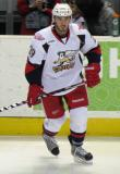Landon Ferraro skates near the bench during pre-game warmups before a Grand Rapids Griffins game.