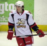 Adam Almquist skates during pre-game warmups before a Grand Rapids Griffins game.