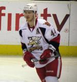 Brennan Evans skates during pre-game warmups before a Grand Rapids Griffins game.