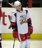 Adam Almquist stands in the neutral zone during pre-game warmups before a Grand Rapids Griffins game.