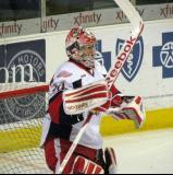 Tom McCollum gets set in his crease during pre-game warmups before a Grand Rapids Griffins game.