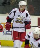 Gustav Nyquist checks his stick during pre-game warmups before a Grand Rapids Griffins game.
