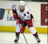 Brent Raedeke waits for the puck to come to him during pre-game warmups before a Grand Rapids Griffins game.