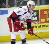 Nathan Paetsch sets up for a faceoff during a Grand Rapids Griffins game.