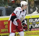 Adam Almquist keeps an eye on the puck during a Grand Rapids Griffins game.