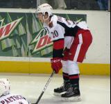 Gleason Fournier gets set for a faceoff during a Grand Rapids Griffins game.