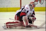 Tom McCollum stretches during a stop in play in a Grand Rapids Griffins game.