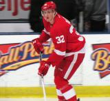 Louis-Marc Aubry carries the puck along the boards during pre-game warmups before the Red and White Game.