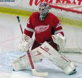 Jonas Gustavsson gets set in his crease during pre-game warmups before the Red and White Game.