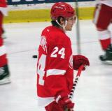 Damien Brunner skates through the high slot during pre-game warmups before the Red and White Game.