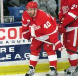 Henrik Zetterberg crouches over during pre-game warmups before the Red and White Game.