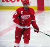 Henrik Zetterberg skates near center ice during pre-game warmups before the Red and White Game.