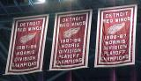 Some of Detroit's Norris Division championship banners.