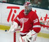 Jonas Gustavsson stands in his crease during the Red and White Game.
