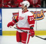 Kyle Quincey skates during a stop in play in the Red and White Game.