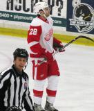 Carlo Colaiacovo skates to the bench during a stop in play in the Red and White Game.