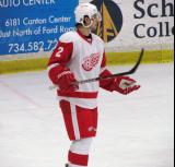 Brendan Smith looks for direction before a faceoff during the Red and White Game.