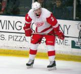 Brendan Smith gets set for a faceoff during the Red and White Game.