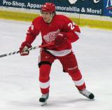 Damien Brunner chases after the puck during the Red and White Game.